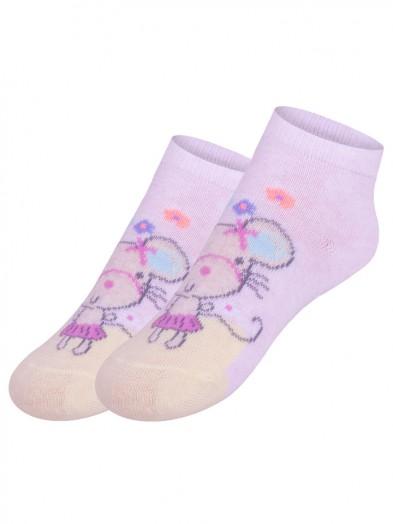 Skarpety stopki antypoślizgowe dziewczęce różowe z myszką