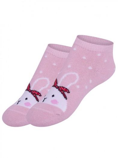 Skarpety stopki antypoślizgowe dziewczęce różowe z zajączkiem