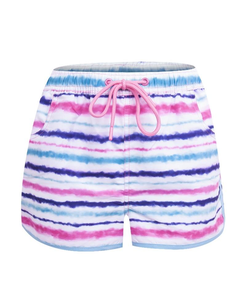 Szorty plażowe dziewczęce tie dye fiolet i seledyn