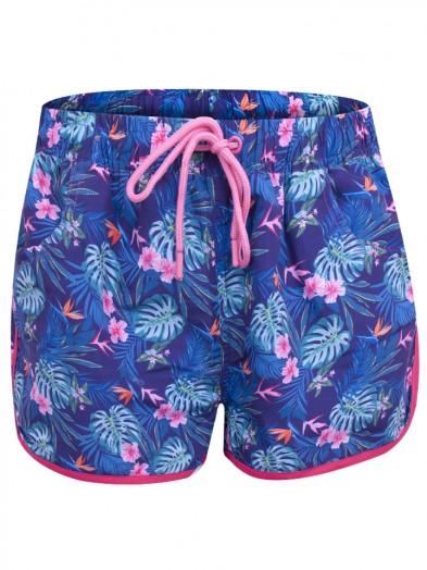 Szorty plażowe dziewczęce granatowe tropikalny wzór