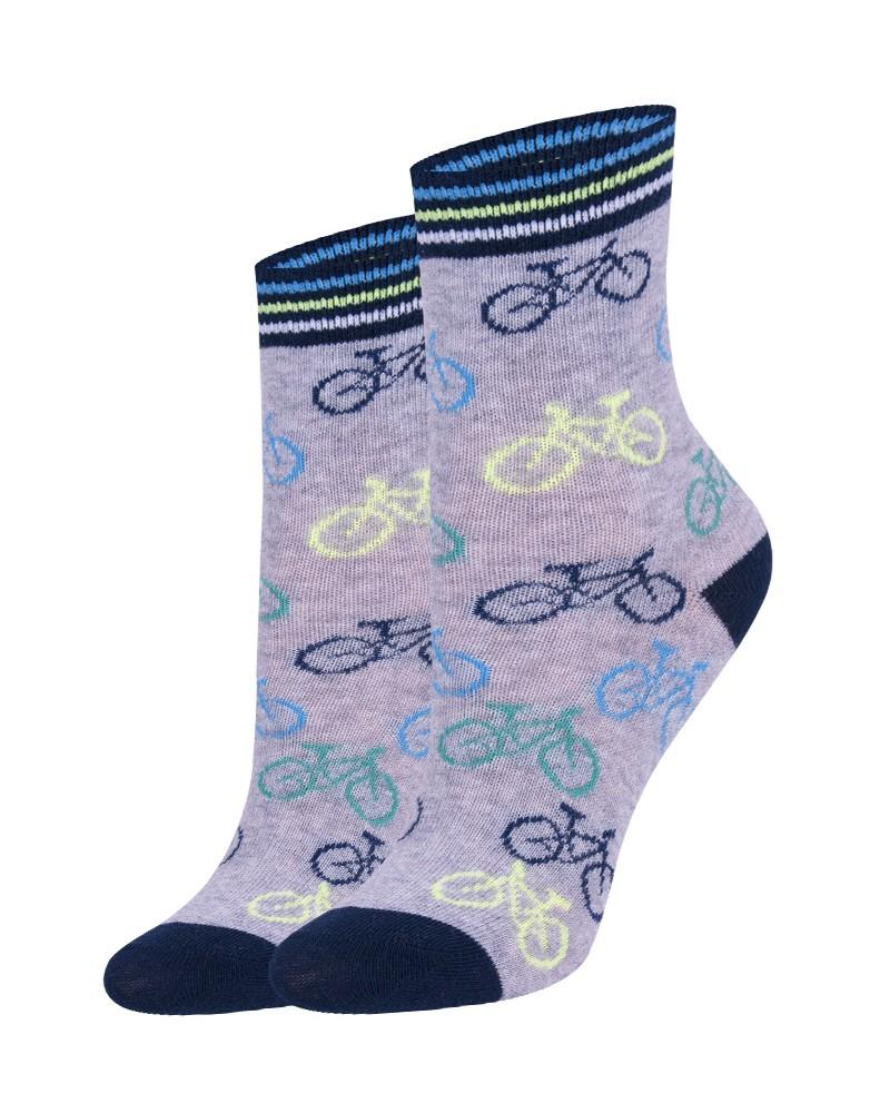 Skarpety chłopięce szare w rowery