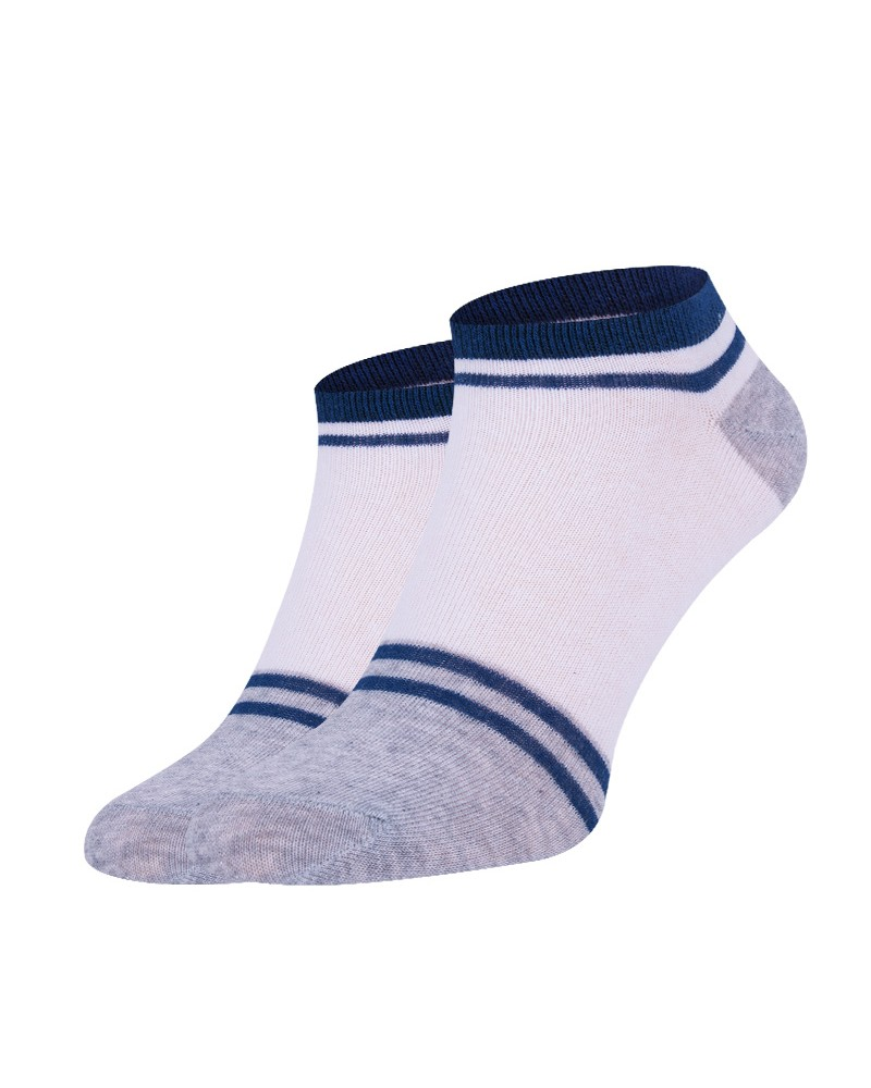 Skarpetki stopki białe z szarymi piętami i palcami
