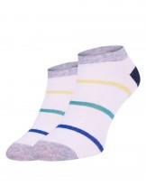 Skarpetki stopki białe z kolorowymi paskami