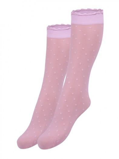 Podkolanówki dziewczęce elastyczne rajstopowe 2pak różowe w kropki
