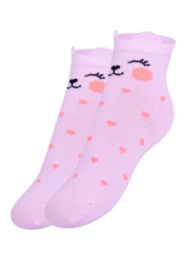 Skarpetki z uszkami różowy kotek z serduszkami