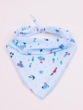 Apaszka chusta dzianinowa chłopięca wiązana błękitna w morskie zwierzęta