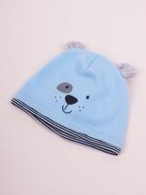 Czapka przejściowa bawełniana chłopięca błękitna z uszkami pieska