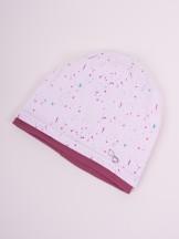 Czapka przejściowa bawełniana dziewczęca różowa w kolorowe plamki