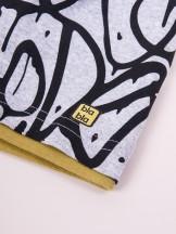 Czapka przejściowa bawełniana chłopięca szara w graffiti