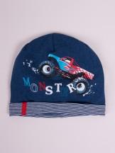 Czapka przejściowa bawełniana chłopięca niebieska monster truck