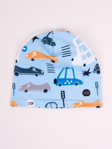 Czapka przejściowa bawełniana chłopięca błękitna samochody i autobusy