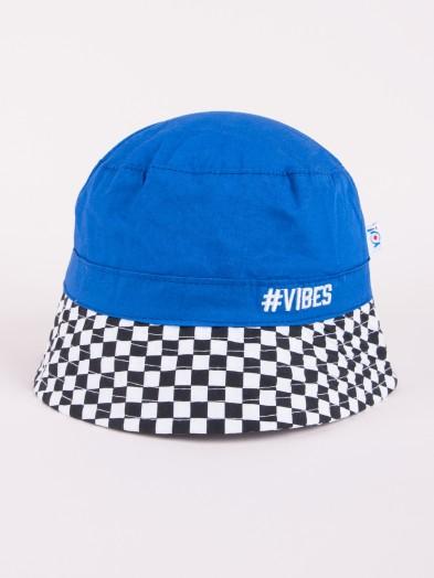Czapka letnia kapelusz atramentowa z szachownicą VIBES