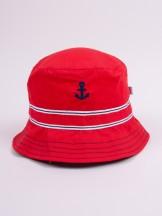 Czapka letnia kapelusz czerwona z kotwicą