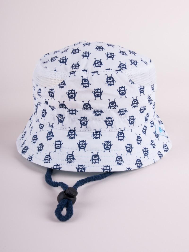 Czapka letnia kapelusz biała z siateczką w potworki