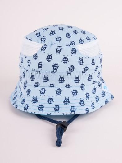Czapka letnia kapelusz błękitna z siateczką w potworki