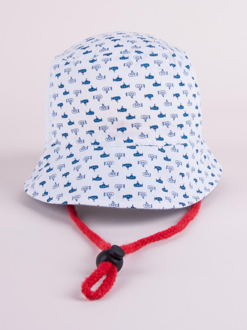 Czapka letnia kapelusz biała z siateczką w łodzie podwodne