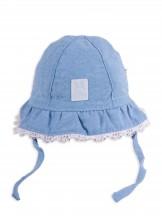 Czapka letnia kapelusz dżinsowy z białym wykończeniem cute bunny