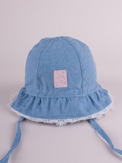 Czapka letnia kapelusz dżinsowy z różowym wykończeniem cute bunny