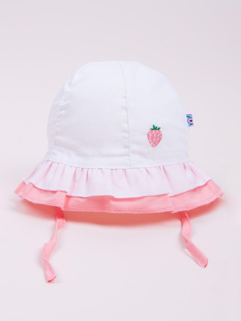 Czapka letnia kapelusz biały z truskawką