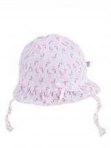 Czapka letnia kapelusz jasnoróżowy ze wstążką we flamingi