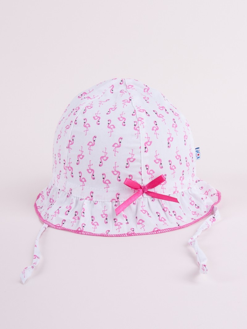 Czapka letnia kapelusz ciemnoróżowy ze wstążką we flamingi