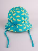 Czapka letnia kapelusz zielony ze wstążką w cytryny