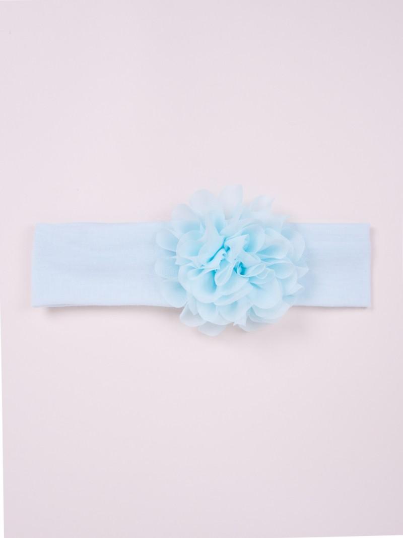 Opaska dziewczęca bawełniana szeroka błękitna z kwiatkiem