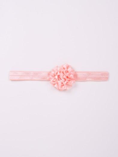 Opaska dziewczęca bawełniana wąska morelowa z kwiatkiem