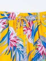 Szorty damskie z pomponikami żółte w liście r. S-M