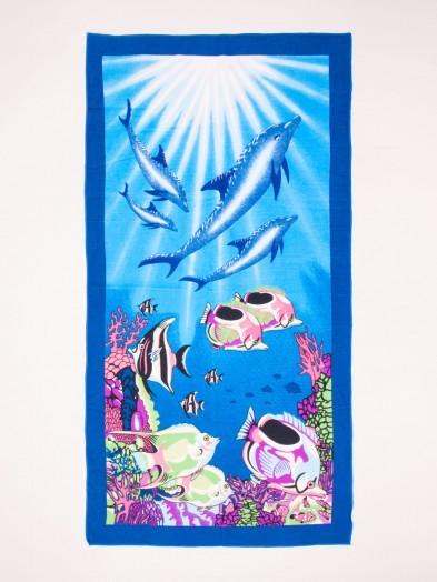 Ręcznik plażowy prostokątny ryby i delfiny