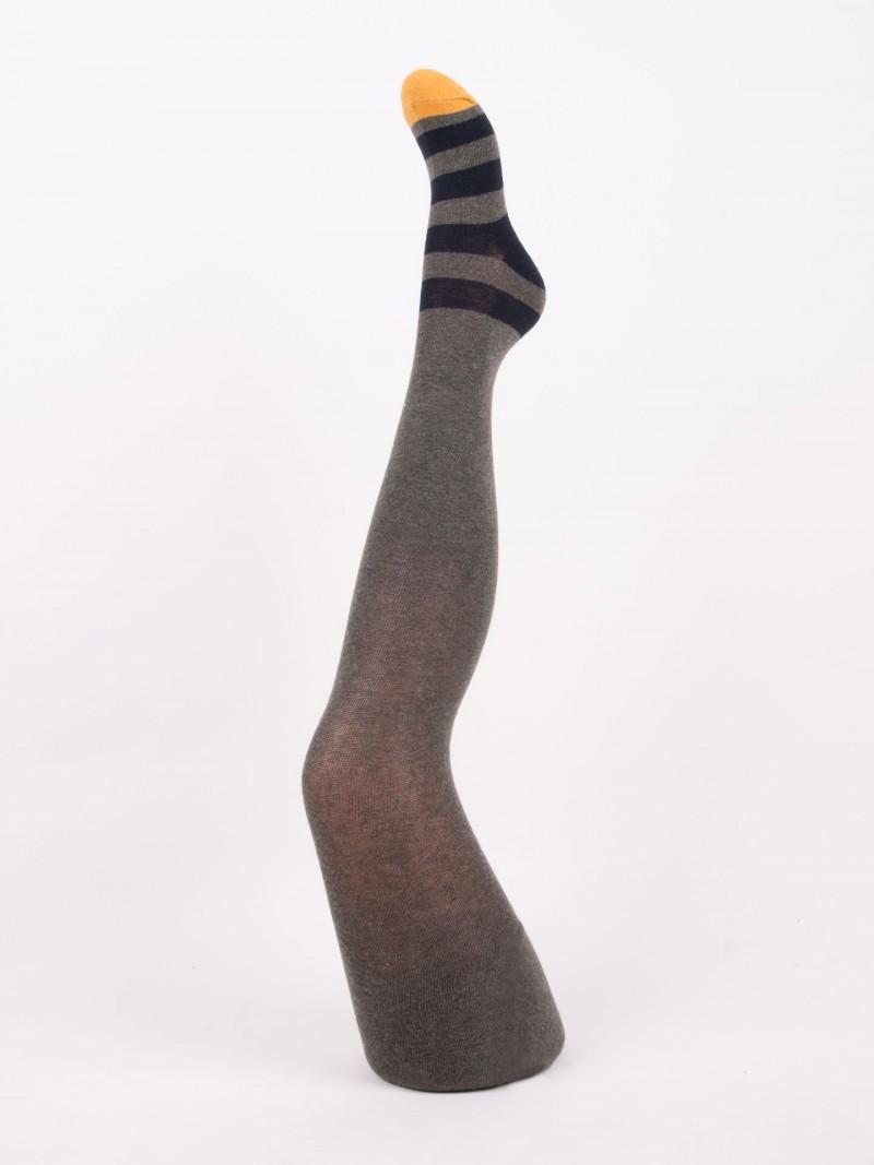 Rajstopy chłopięce bawełniane szare z paskami r. 104-110