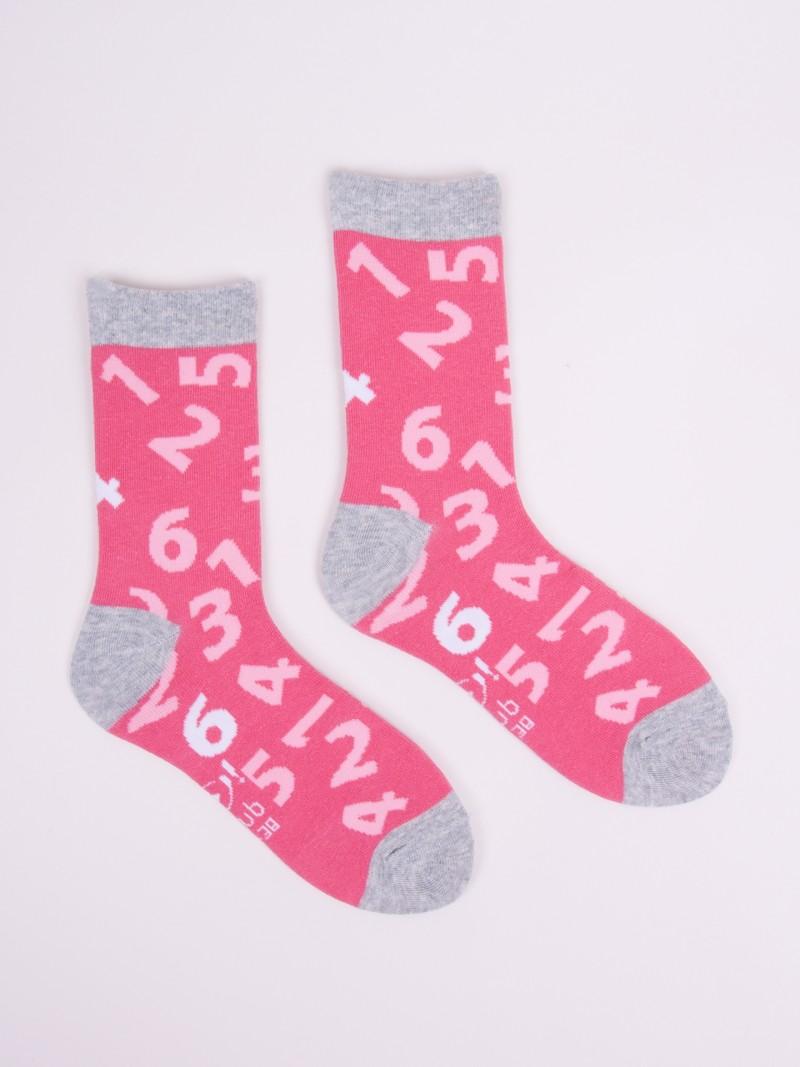 Skarpety bawełniane różowe w cyfry r. 27-30