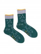 Skarpety bawełniane butlekowa zieleń we wzory matematyczne r. 27-30