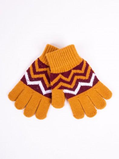 Rękawiczki musztardowe ze wzorem r. 18