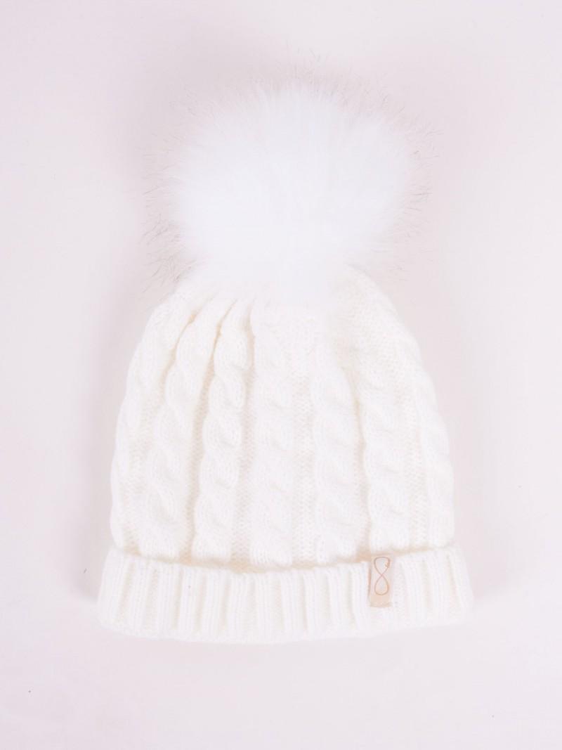 Czapka zimowa biała z pomponem r. 42-44