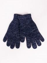 Rękawiczki damskie granatowe dziane ze srebrną nitką