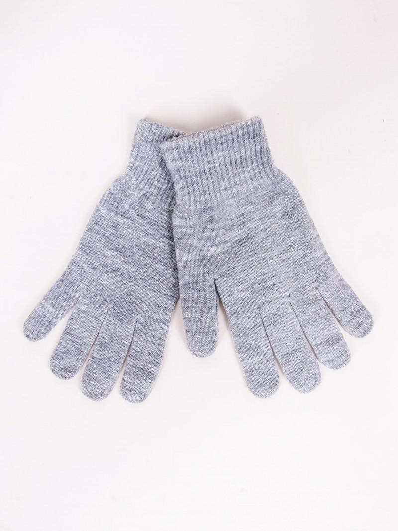Rękawiczki damskie jasnoszare dziane ze srebrną nitką
