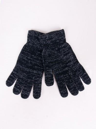 Rękawiczki damskie czarne dziane ze srebrną nitką