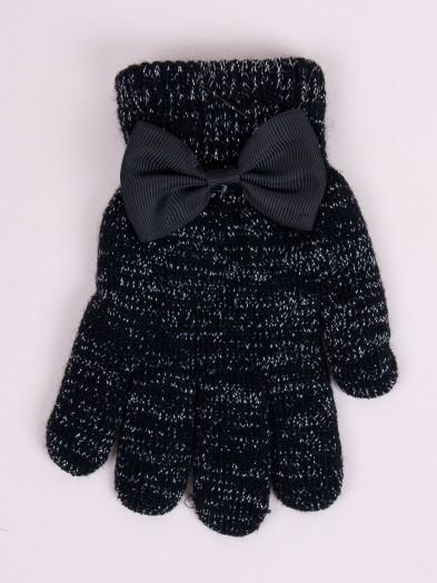 Rękawiczki dziewczęce czarne srebrna nitka i kokardka