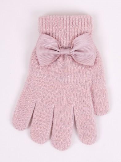 Rękawiczki dziewczęce różowe srebrna nitka i kokradka