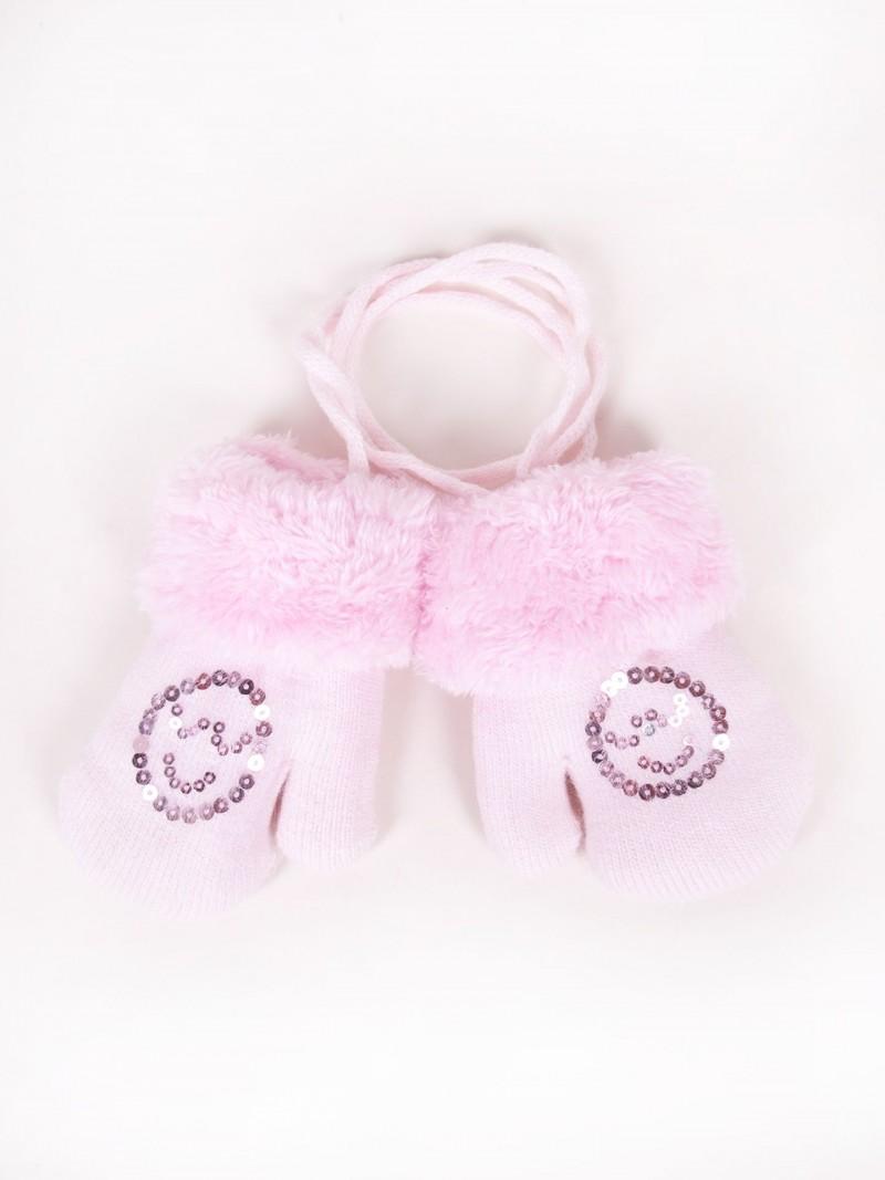 Rękawiczki dziewczęce różowe ozdobne cekiny i futerko