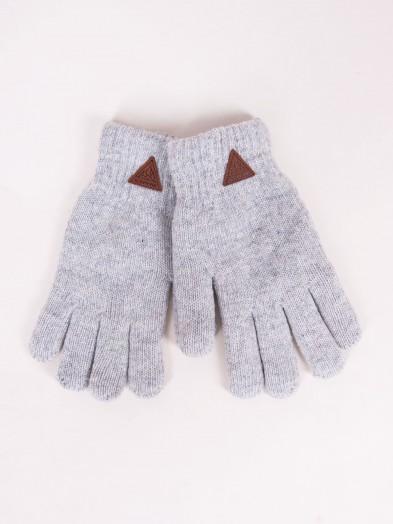 Rękawiczki chłopięce szare ocieplane z wełną