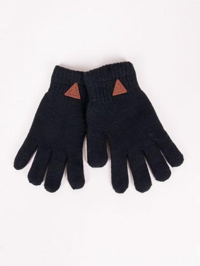 Rękawiczki chłopięce czarne ocieplane z wełną