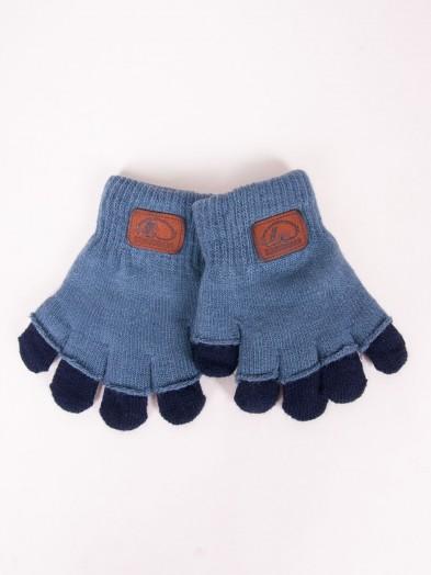 Rękawiczki chłopięce niebieskie podwójne