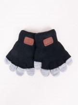 Rękawiczki chłopięce czarne podwójne