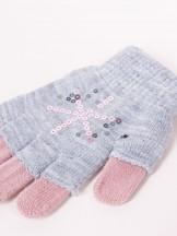 Rękawiczki dziewczęce szare podwójne ozdobne cekiny