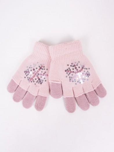 Rękawiczki dziewczęce różowe podwójne ozdobne cekiny