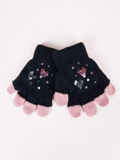 Rękawiczki dziewczęce czarne podwójne ozdobne cekiny