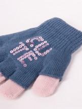 Rękawiczki dziewczęce niebieskie podwójne ozdobne cekiny