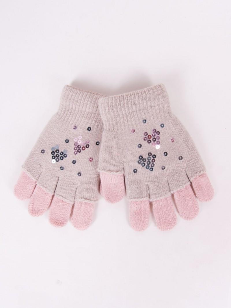 Rękawiczki dziewczęce beżowe podwójne ozdobne cekiny